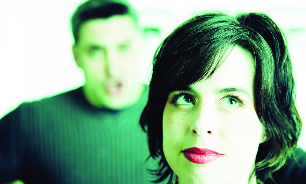 She says: His big mouth embarrasses me. He says: Get over it