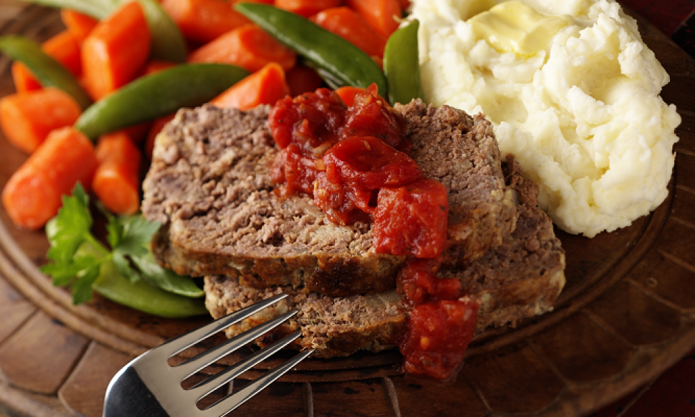 Meatloaf, potatoes and vegetables: Comfort Food